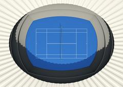Hard Tennis Court In The Day Stock Illustration