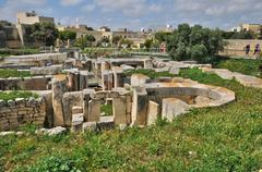 Malta, the megalithic temples of Tarxien - stock photo
