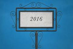 """The Number """"2016"""" on a Signboard - stock photo"""