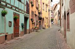 Stock Photo of France, picturesque village of Riquewihr in Alsace