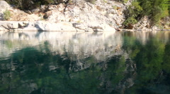 Mountain lake with clear water Stock Footage