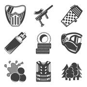 Paintball equipment black icons - stock illustration