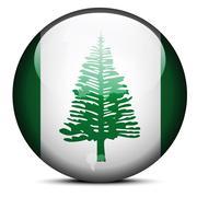 Map on flag button of Territory  Norfolk Island, Australian overseas territor - stock illustration