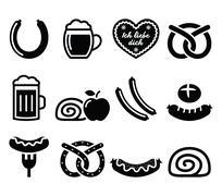 German food - sausage, curry wurst, beer, pretzel, apple strudel - stock illustration