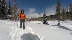 Woman cross country skiing in the mountain valley Stock Footage
