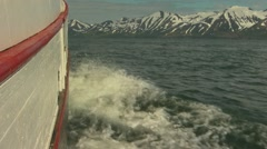 Whale watching boat in Iceland low angle close up Stock Footage