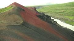 Red Mountain in Asbyrgi Iceland near Akureyri long shot Stock Footage
