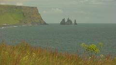 Troll Rocks in sea at Vik Iceland-1 Stock Footage