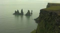Troll Rocks in Vik Iceland-5 high shot - stock footage