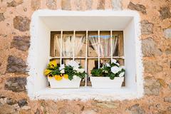 Mediterranean window in Majorca Stock Photos