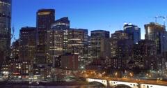 Calgary - Alberta Canada - Downtown - Evening - 24P - Cinematic DCI 4K - Flat Stock Footage