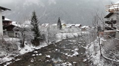 Ziller river in winter. Mayrhofen, Austria Stock Footage