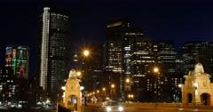 Calgary - Alberta Canada - Downtown - Night - 24P - Cinematic DCI 4K Stock Footage