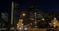 Calgary - Alberta Canada - Downtown - Night - 24P - Cinematic DCI 4K - Flat Stock Footage
