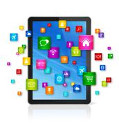 Digital Tablet pc and flying apps icons - stock illustration
