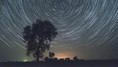 Lone tree startrails time lapse - stock footage