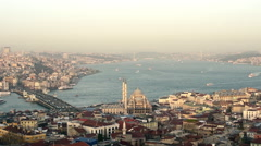 Aerial and panoramic view of Istanbul at sunset, pan shoot Stock Footage