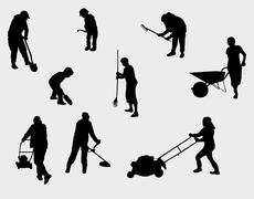 People working outdoors silhouettes Stock Illustration