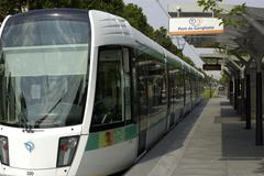 Ile de France, tramway in Paris - stock photo