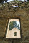 Window of Ruined Building - stock photo