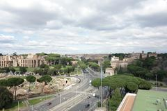 aerial view of Circus maximus and the Palatine in Rome - stock photo