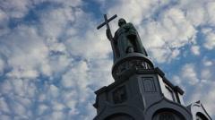 Vladimir Svyatoslavich statue timelapse - stock footage