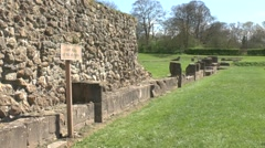 Ruins Abbey Glastonbury Ancient stone work Stock Footage