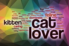 Cat lover word cloud with abstract background - stock illustration