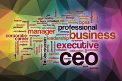 CEO word cloud with abstract background - stock illustration