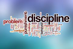 Discipline word cloud with abstract background - stock illustration
