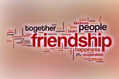 Friendship word cloud with abstract background Stock Illustration