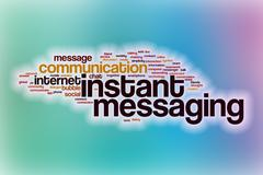 Instant messaging word cloud with abstract background Stock Illustration
