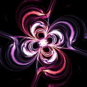Abstract the mysterious glowing flower swirls in dark space Stock Illustration