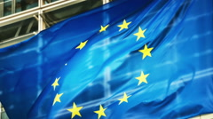 European Union flags - stock footage
