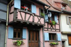 France, Alsace, picturesque old house in Eguisheim Stock Photos