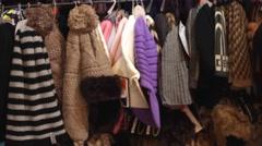Scarf wool heats  in shop market Stock Footage