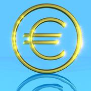 Golden shiny metallic euro symbol on a blue background with water reflection Stock Illustration