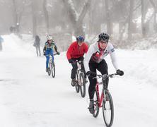 winter cycling - stock photo