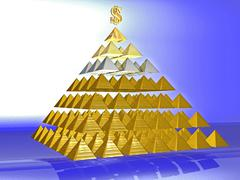 Alluring deceptive pyramid topped by a golden dollar - stock illustration