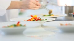 Closeup of meal preparation in restaurant kitchen Stock Footage