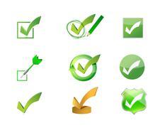 Approve check marks icon set illustration design Stock Illustration