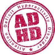 ADHD (Attention Deficit Hyperactivity Disorder) rubber stamp. Stock Illustration