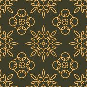 Rich decorated calligraphic outlined stroke seamless pattern in dark and gold - stock illustration