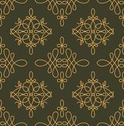 Rich decorated calligraphic outlined stroke seamless pattern in dark and gold Stock Illustration