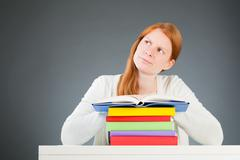 Doubtful or Questioning Student - stock photo