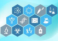 Biology science icons - stock illustration
