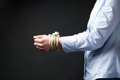 Businesswoman with Tied Up Hands Stock Photos