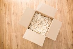 Top View of an Open Parcel or Moving Box Stock Photos
