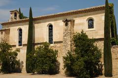 historical Estoublon castle in Fontvieille - stock photo
