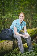 Recreational Hiker with Water Bottle in Nature - stock photo